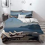 Big horn deer 3 Piezas Bedding Juego de Funda de Edredón,Decoración de Viajes, Tumbona en la terraza en Santorini Grecia Resort Relajación Ege,Funda Nórdica Microfibra - Suaves y cómodas,220 x 240cm