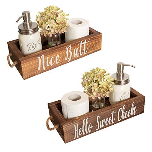 MAINEVENT Nice Butt Bathroom Decor Box, 2 Sides - Funny Gift, Funny Toilet Paper Holder Perfect for Farmhouse Bathroom Decor, Toilet Paper Storage, Rustic Bathroom Decor, or Diaper Organizer (Brown)