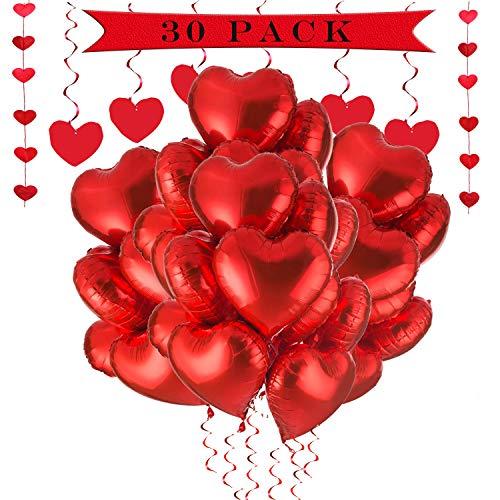 a ray of sunshine 30 Pezzi Palloncini Cuore 18 Pollici, Palloncino Foil Cuore, Palloncini Elio a Forma di Cuore per Feste, Compleanni, San Valentino, Matrimoni, fidanzamenti. (Rosso)
