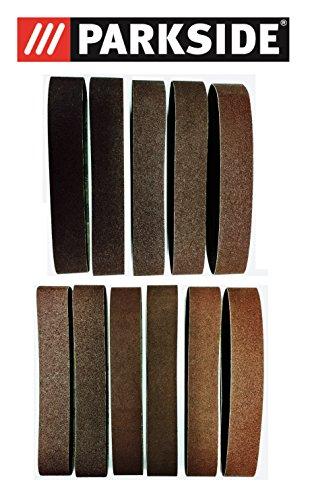 11-teiliges Premium Schleifbänder Set 50x686 mm Körnung 60-120 für PARKSIDE Standbandschleifer PSBS 240 B2 auch passend für PSBS 240 A1, Schleifband / Schleifpapier Korn 60/80/120