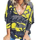 Elesoon Camisa de manga larga para mujer, diseño de camuflaje Flecktarn, talla grande, cuello en V, blusa suelta, A-amarillo, 50