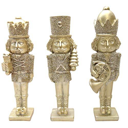 3er Set Nussknacker Dekofigur Gold 16,5 cm Weihnachtsfigur Figur Weihnachtsdeko