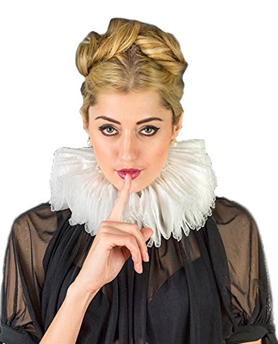 Elizabethan Neck Ruff Medieval Tudor Costume (5cm height X 10cm depth X 50cm Total Leght, White)