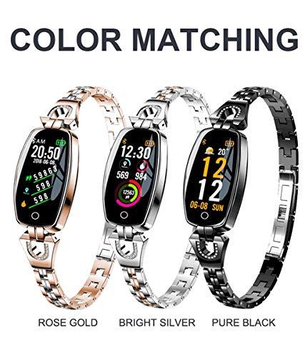 YUYLE Smartwatches Vrouwen Smart Watch Fitness Tracker Hartslagmeter met Kleur Scherm IP68 Waterdichte Auto Wake Screen Smartwatches voor iPhone Android Upgraded versie, Zwart