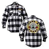 Guns N' Roses Official Store GNR, Men's, Black and White Logo Flannel, Black/White, XL