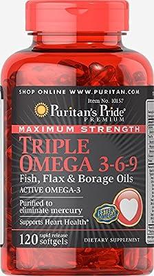 Puritan's Pride Maximum Strength Triple Omega 3-6-9 Fish, Flax & Borage Oils 120 Softgels 10157