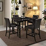Harper & Bright Designs 5-Piece Kitchen Table Set Faux Marble Top Counter Height Dining Table Set with 4 Black Leather-Upholstered Chairs, Black