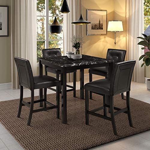 Harper & Bright Designs Kitchen Table Set Faux Marble Top Counter Height Dining Table Set with 4 Black Leather-Upholstered Chairs, Black