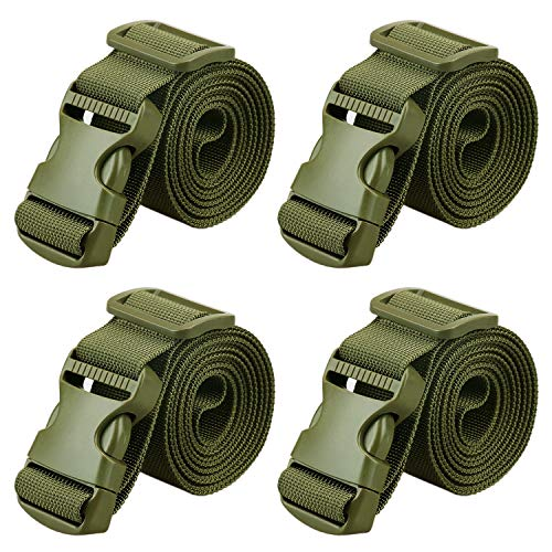 "MAGARROW 65"" × 1.5"" Utility Straps with Buckle Adjustable, 4-Pack (Army Green (4-PCS))"