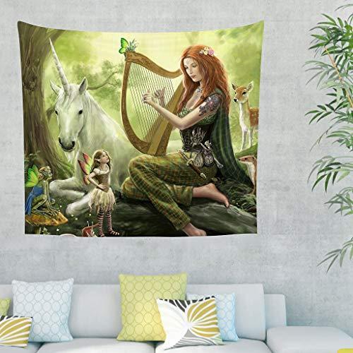 Anime Märchen Elf Einhorn Grüne Wald Fantasie Wandteppich Schöne Mädchen Einhorn Bäume Wunderland Wandbehang Tapisserie
