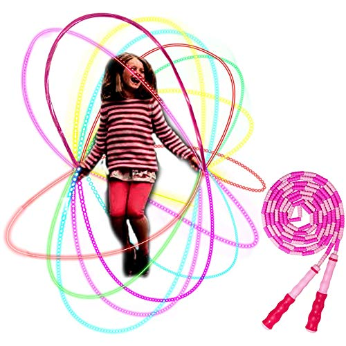 HongMe Jump Rope - Led Rope Light - 7 Foot Skipping Rope for Kids Jumping Exercise and Night Fun Party Favors, Chinese Jump Rope Pink Gifts for Girls-2 Pack