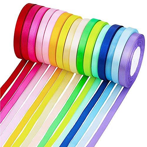 SAIYU Double Sided Fabric Ribbon Nastro in Raso di Seta 400 Yard Satin Ribbon per Archi Articoli Artigianali Festa di Nozze Festival (16 Rotoli, 10 mm di Larghezza, Multicolore)