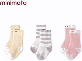 Minimoto 3 pares de calcetines largos de algodón para bebé, unisex, para invierno, gruesos, cálidos, para niños y niñas Pink+Light yellow+Light gray Talla:0-6 meses