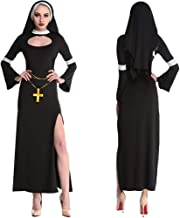 Sexy Nun Deluxe Costume with Side Slit Head Scarf and Ribbon Cross Belts for Adults Women Girls for Gift Halloween Cosplay...