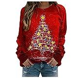 Zilosconcy Sudadera Navidad Mujer Jersey Navideño Feo Sudaderas Navideñas Mujer Divertido Pullover Navidad Ugly Jerseys Navideños Chica Sudadera Navideña Talla Grande Sueter Oversize Anchas