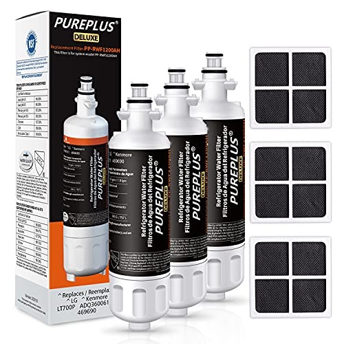 PUREPLUS 469690 NSF 401 & 473 & 53 & 42 Certified Replacement for LG LT700P Kenmore Elite 9690, ADQ36006102, ADQ36006101, LFXS30766S, LFX28968ST, LT120F Refrigerator Water and Air Filter, 3Pack