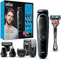 Braun 9 En 1 Recortadora todo en uno MGK5080, Máquina recortadora barba, cortapelos, recortador de vello de nariz y orejas, para detalles, afeitadora corporal