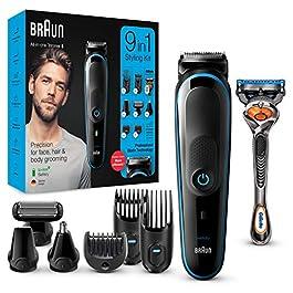 Braun 5 Tout-En-UnTondeuse Électrique Homme Cheveux Et Corps, Noir/Bleu, 9-En-1 Avec 7 Accessoires Et Moteur Adaptif…
