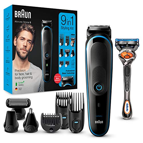 Braun 9-in-1-Trimmer MGK5280 Barttrimmer, Bodygrooming-Set und Haarschneider für Herren, schwarz/blau