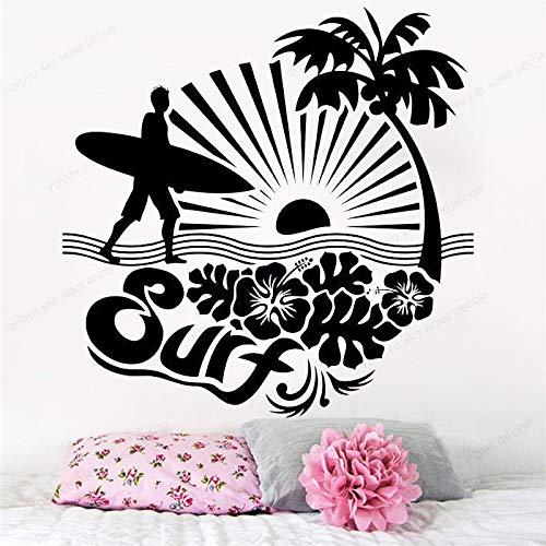 PSpXU Sport Wandaufkleber Surf Sea Palm Surfer Vinyl Wandaufkleber Home Decoration Abnehmbare Kunst Wandmalerei57x56cm