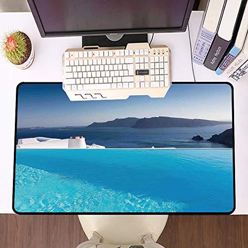 Übergroße Spiel Mauspad -Schreibtischunterlage Large Size,Haus Dekor, Luxus Resort Pool in Santorini Griechenland Mittelmeer Panorama Foto,und schnelle Maussteuerung,Gummiunterseite