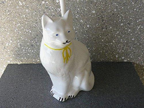 WC-Garnitur Katze aus Keramik mit Dekorbemalung hergestellt in Deutschland