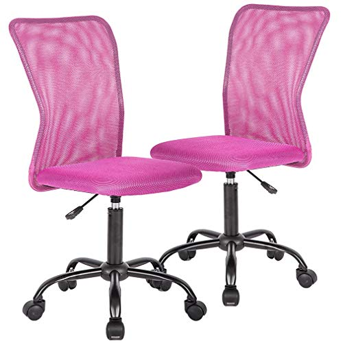 Ergonomic Office Chair Desk Chair Mesh Computer Chair with Lumbar Support No Arms Swivel Rolling Executive Chair for Back Pain,Pink 2 Pack