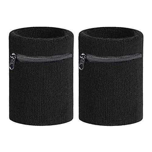 2 pulseras de muñeca con cremallera para deportes y muñequeras gruesas, para mujeres, hombres, correr, 2 unidades