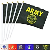 TSMD US Army Gold Crest Stick Flag 50 Pack Small Mini Handheld United States Military Flags On Stick,Decorations Supplies for Army Party Events Celebration