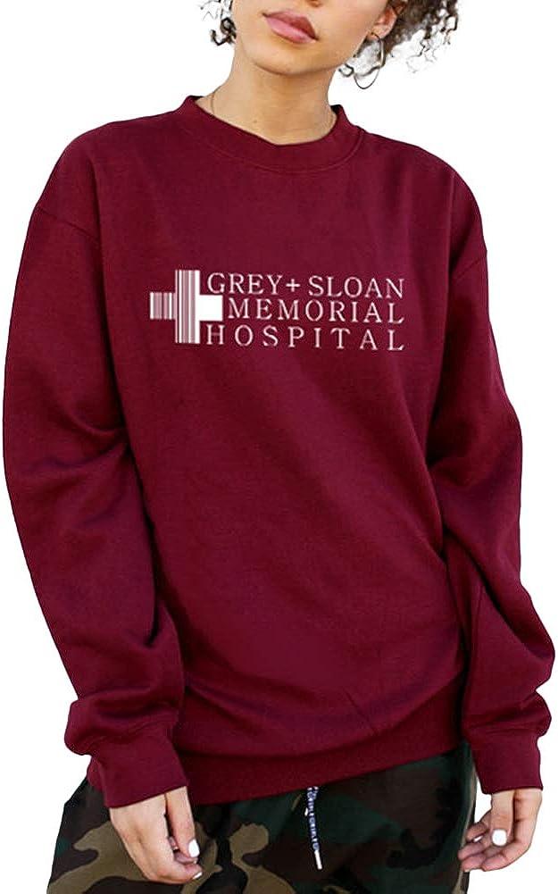 Women's Long Sleeve Pullover Sweatshirt Crew Neck Letter Logo Printed Loose Sweatshirts