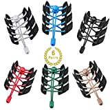No Tie Shoelaces for Kids Adults Elastic Shoe Laces Lock Ribbon, 6 Pairs Replace Tieless Shoe Laces for Sneakers, Blue Green Red Apricot White Black, X-L