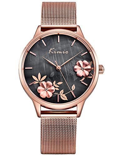 Alienwork Damen-Armbanduhr Quarz Rose-Gold mit Metall Mesh Armband Edelstahl grau Perlmutt-Zifferblatt elegant