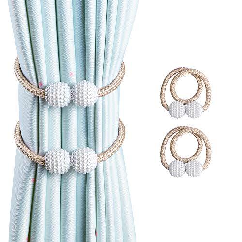 OTHWAY Vorhang Raffhalter Magnetisch, 2 Stück Vorhanghalter Elegante Perlenperle Holdbacks Gardinenklammern mit Starken Magnet (Beige, 2 Stück)