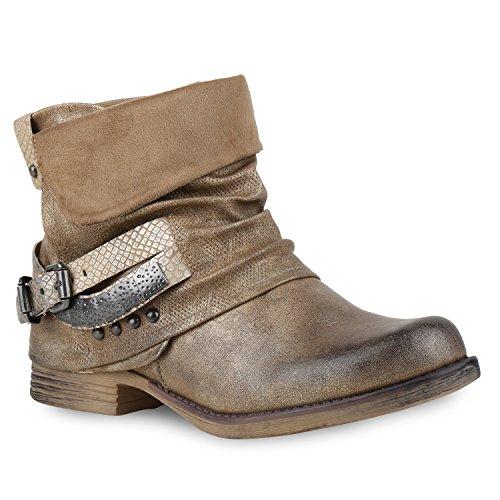 Damen Biker Boots Used Look Metallic Stiefeletten Nieten Schuhe 132457 Gold Nieten 36 Flandell