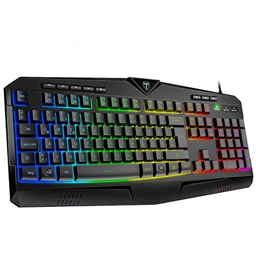 VicTsing Gaming Tastatur RGB, PC Tastaturen beleuchtete USB (DE Layout), 8 unabhängige Tasten, wasserdicht, rutschist, 25 Tasten Anti-Ghosting, Wired Keyboard Gamer, Windows/Mac Schwarz