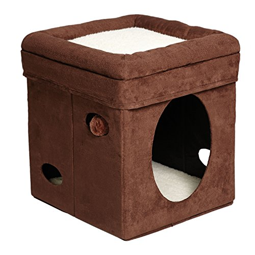 MidWest 'The Original' Curious Cat Cube, Cat House / Cat Condo in Brown Faux...