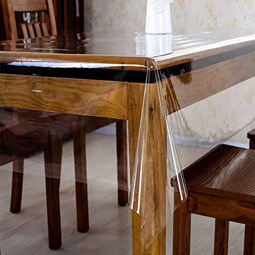 Bove Protector De Mantel De Vinilo Transparente, Mantel Transparente Impermeable A Prueba De Aceite, PVC para Mesas De Comedor, Alfombrilla para Escritorio-0.23mm-137x160cm(54x63inch)