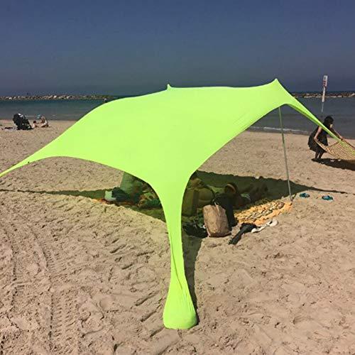 KLFD Tenda da Spiaggia Tenda da Spiaggia Portatile Plus Tenda da Spiaggia con Ancoraggio per Sacchi di Sabbia, Hyper Protezione UV Funzione Campeggio Ombrellone Tenda Ombrellone Tendalino,Verde