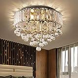 Araña de cristal, Ø40CM Premium 6 luces G9 Lámpara de techo redonda elegante moderna Lámpara colgante de iluminación para sala de estar Dormitorio Pasillo Araña