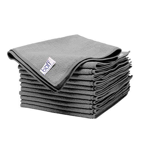 "BuffTM Microfiber Cleaning Cloth | Gray (12 Pack) | Size 16"" x 16"" 