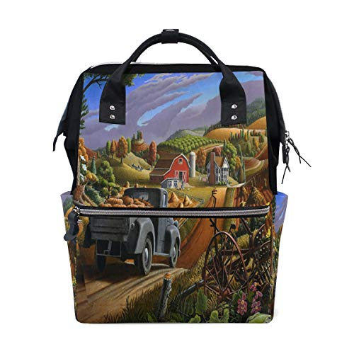 Frauen-beiläufiger Rucksack-ruhiger Bauernhof-Kürbis-Fall-Herbst-Beutel-weit geöffneter Arbeits-Doktor Style Daypack Canvas für Damen-Mädchen-Rucksack