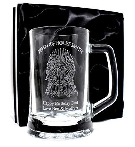 Engraved/Personalised *Game of Thrones House* Pint Glass Tankard Gift Boxed (Silk Lined Gift Box)
