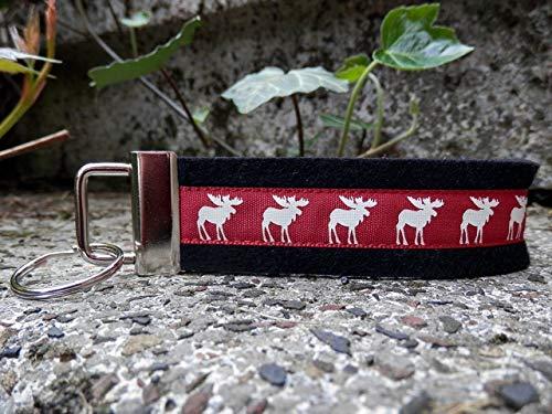 Schlüsselanhänger Schlüsselband Wollfilz schwarz Webband Elche rot Geschenk!