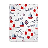 Personalized Baby Blankets for Boys with Name - Baby Boy Blankets Newborn Soft - Custom Baby Blankets for Boys - Nautical Baby Blanket - Customized Baby Blankets for Boys