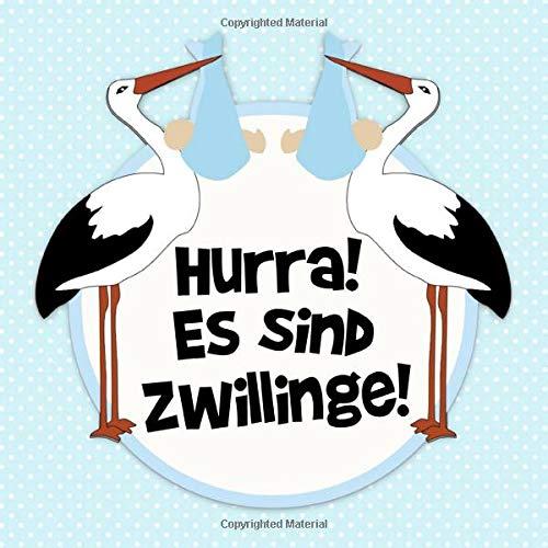 Hurra! Es sind Zwillinge!: Blauer Tupfen Storch Gästebuch für Babyparty Zwillinge Jungs - Baby Dusche / Babyshower Buch für Jungen - 112 Einträge für ... Baby - Geschenkeliste - Quadratische Format