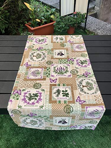 1KDreams Camino de mesa rectangular de decoración provenzal estilo Shabby Country Chic. Moderno y elegante, fabricado en Italia (50 x 140 cm)