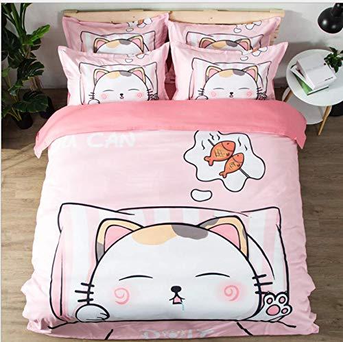 HDBUJ dekbedovertrek voor meisjes, eenpersoonsbed, digitale print met kattenscène, twee bijpassende kussenslopen, roze