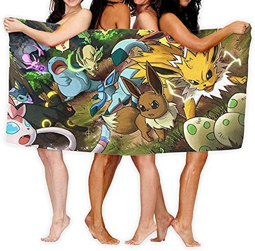QWAS Toalla de playa Pokémon de microfibra, par de toallas de baño, diferentes tamaños, aspecto perfecto, adecuada para sauna, yoga (Pokémon5,100 x 200 cm)