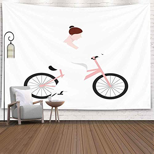 Tapiz para colgar en la pared, tapiz para dormitorio, decoración de la habitación, al aire libre, aislado, novia, bicicleta, imagen de matrimonio, tapiz de invierno, manta de playa, tapiz de festival