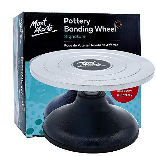 Mont Marte Signature Pottery Banding Wheel, 7in (18cm) Diameter, Sturdy Cast Iron Body with Aluminium Base
